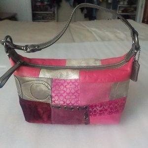 Coach Pink & Metallic Silver Small Handbag